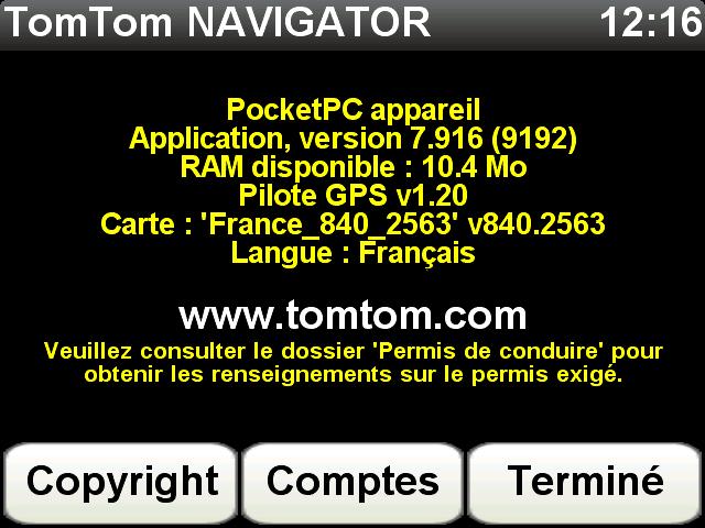 Carte TomTom France 840.2563 Screen40