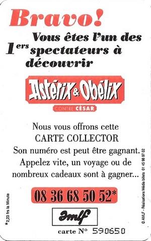 """1999 - Cartes Collectors """"Asterix et Obelix contre César"""" Verso_13"""