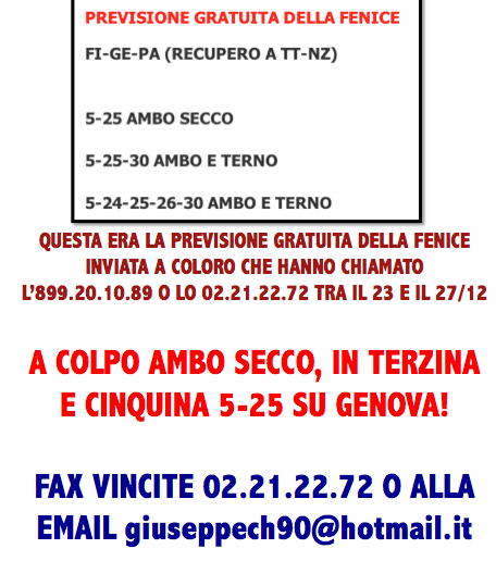 L&L Premium del 24-25-26-27/12: AMBO SECCO MILIONARIO A COLPO 5-25 SU GE! 5-25ge10