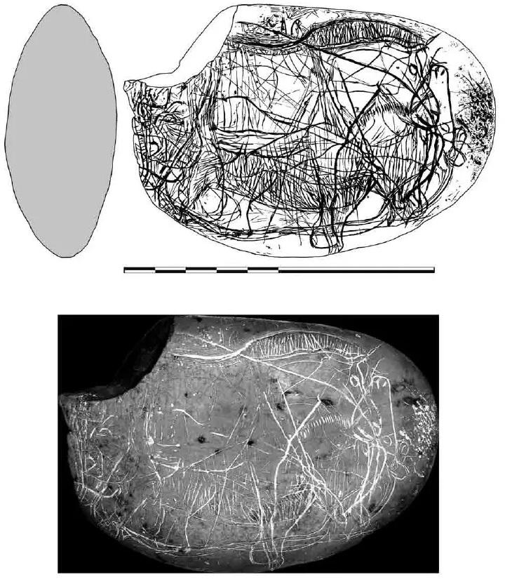 Galets et os gravés magdaléniens de la grotte de la Colombière (Neuville sur Ain / Poncin) 42-01810