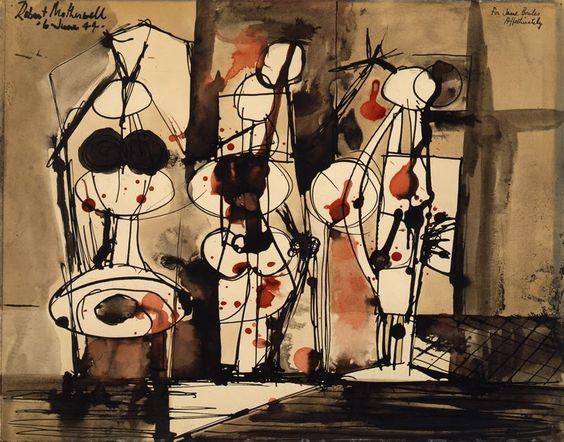 """Motherwell Robert (1915-1991): notes sur les """"Elégies à la République espagnole"""" et sur la série """"Open"""". Mother68"""
