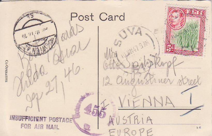 Post von seltenen Länder nach Österreich 1946 bis 1953 Fiji_k11