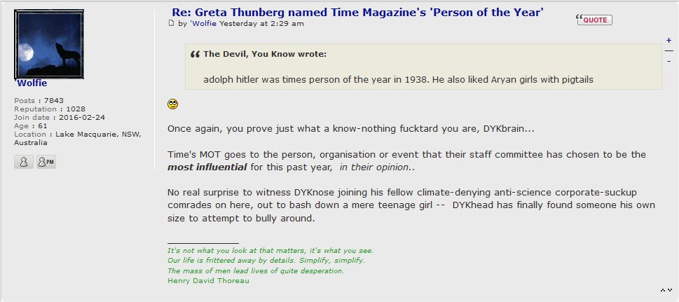 Greta Thunberg named Time Magazine's 'Person of the Year' - Page 2 Wolfie10