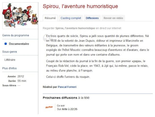Spirou, l'Aventure humoristique sur Arte Spirou10