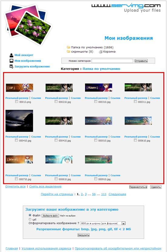 Как пользоваться хостингом изображений Servimg.com Snap0016