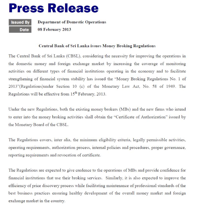 Sri Lanka issues rule for money brokers Cbsl14