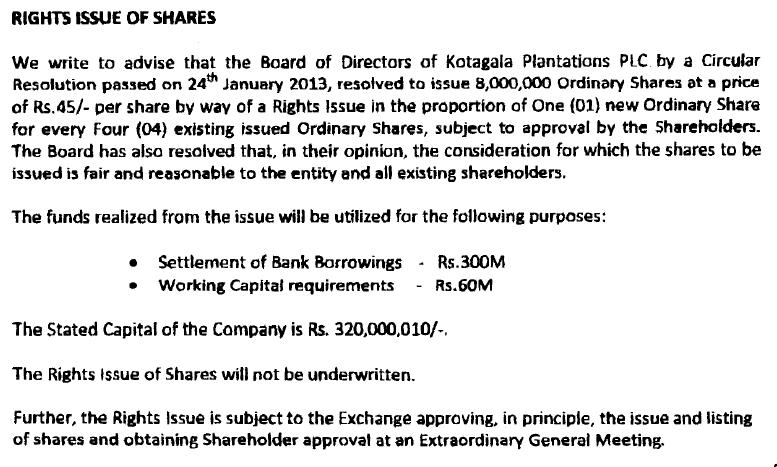 KOTAGALA PLANTATION PLC (KOTA.N0000) Right10