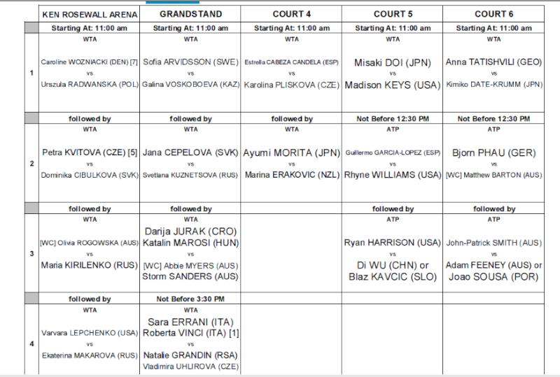 WTA SYDNEY 2013 : infos, photos et vidéos  - Page 2 Progra11
