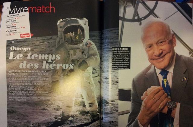 Interviews Buzz Aldrin, Gene Cernan, Felix Baumgartner, Richard Branson, Histoire de Omega Speedmaster dans le dernier Paris-Match 20121210