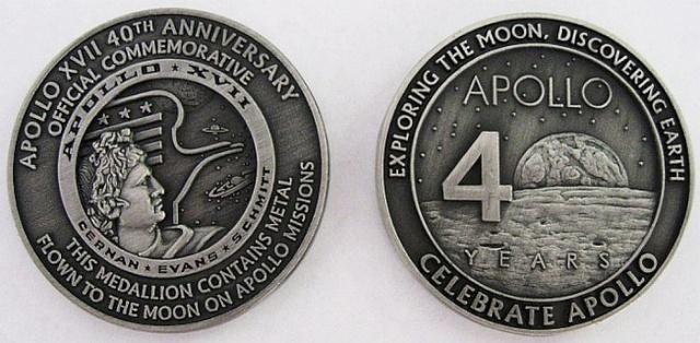 Apollo 17 - Médaille commémorative 40 ans avec métal ayant voyagé autour de la Lune Apollo11