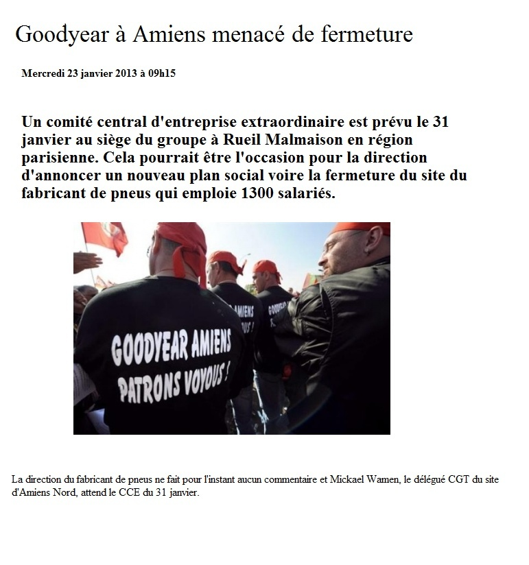 Goodyear à Amiens menacé de fermeture Goodye10