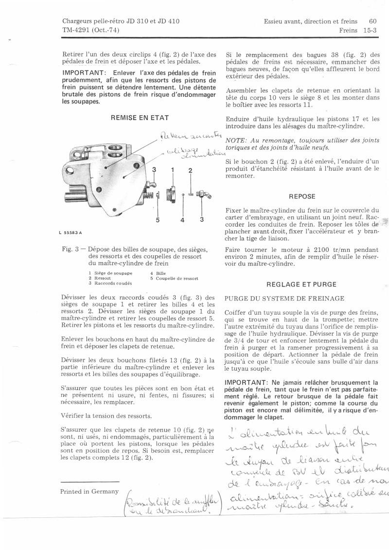 Problème de freins arriéres sur un traco-pelle JD400. documentation technique ? Freins13