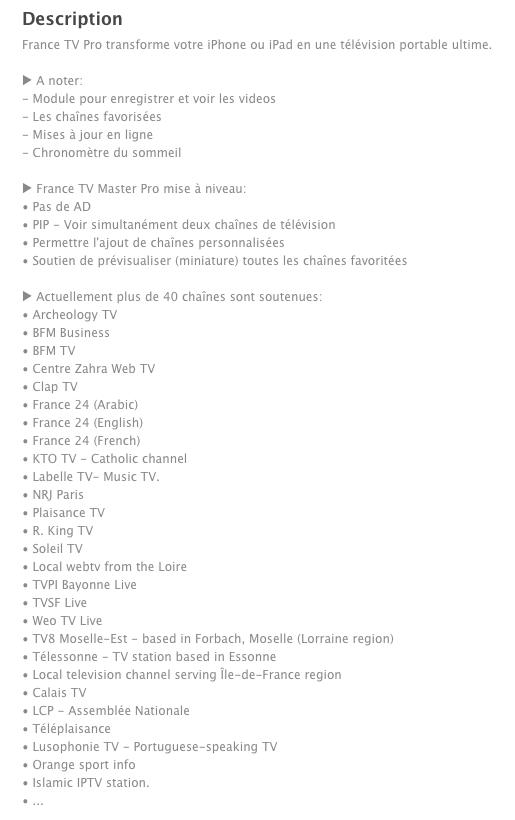 """France TV Pro"" (Appli iPhone ; iPad et iTouch) Captur25"