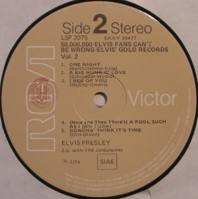 ELVIS' GOLD RECORDS VOLUME 2 4c12