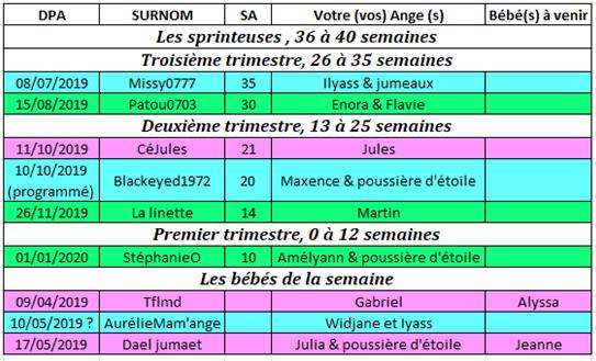 Tableau des couveuses du 27 mai au 2 juin 2019 27-5_a10