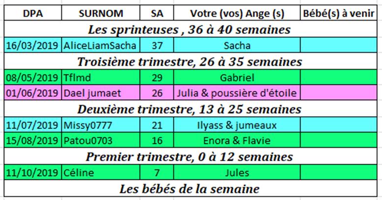 Tableau des couveuses du 18 au 24 février 2019 Couveu13