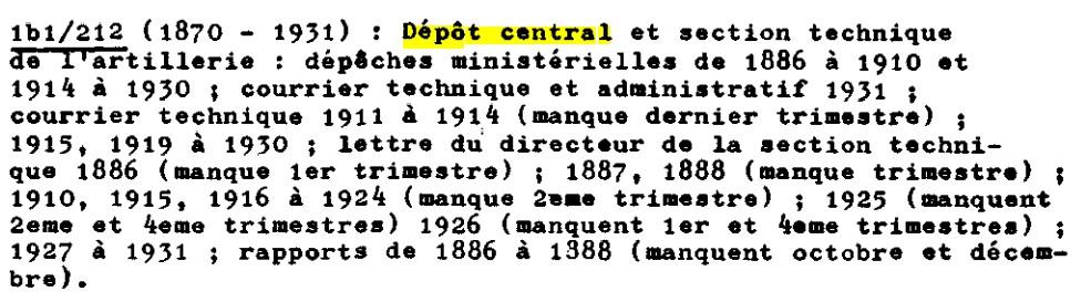 Recherches informations sur le Dépôt Central (DC), puis la Section technique de l'artillerie (STA) Dc10