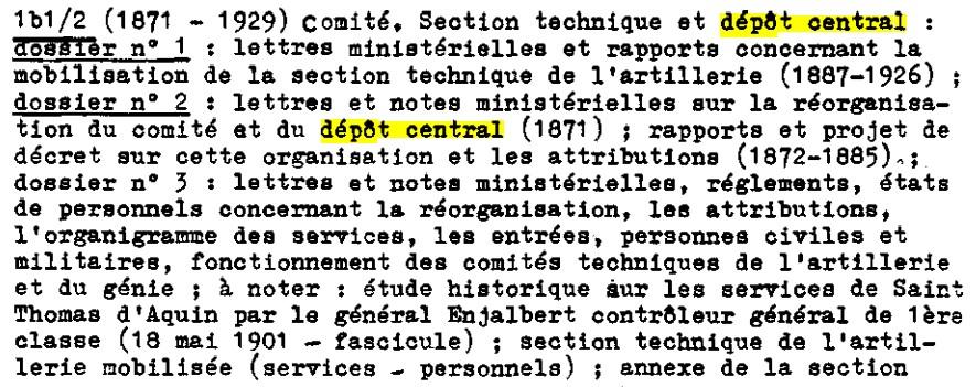 Recherches informations sur le Dépôt Central (DC), puis la Section technique de l'artillerie (STA) Dc210