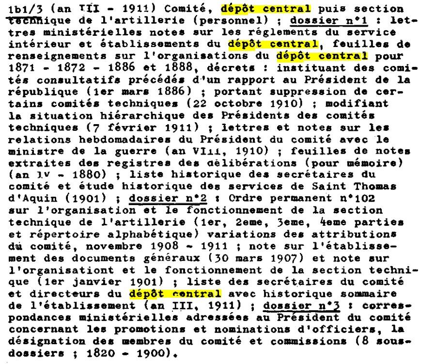 Recherches informations sur le Dépôt Central (DC), puis la Section technique de l'artillerie (STA) Dc_110