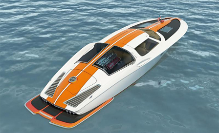 Speed boat with the classic design cues from a 1963 Corvette split window coupe  -  Swedish designer Bo Zolland takes 05150810