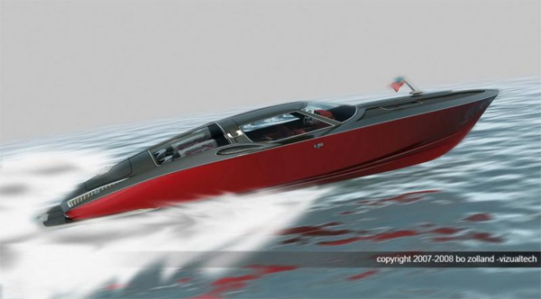 Speed boat with the classic design cues from a 1963 Corvette split window coupe  -  Swedish designer Bo Zolland takes 05150811