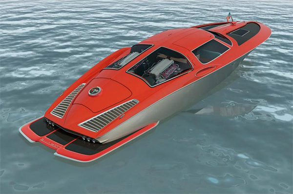 Speed boat with the classic design cues from a 1963 Corvette split window coupe  -  Swedish designer Bo Zolland takes 05150812