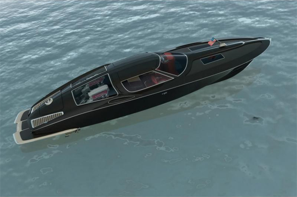 Speed boat with the classic design cues from a 1963 Corvette split window coupe  -  Swedish designer Bo Zolland takes 05150813