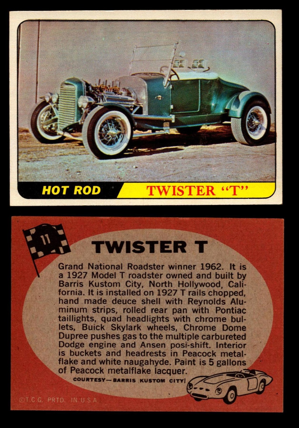 Hot Rods Topps - Vintage Trading Cards 1968 - Custom car - Dragster - Racer - Dream car - Barris Kustom City - Ed Roth Darrill Starbird, Gene Winfield, Bill Cuchenberry 11_40210