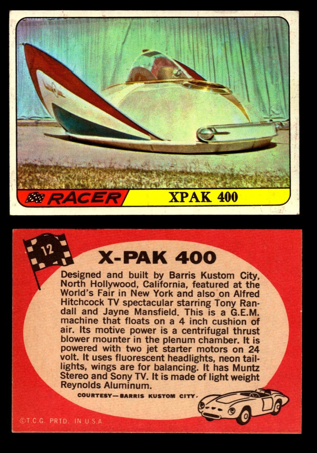 Hot Rods Topps - Vintage Trading Cards 1968 - Custom car - Dragster - Racer - Dream car - Barris Kustom City - Ed Roth Darrill Starbird, Gene Winfield, Bill Cuchenberry 12_ea612