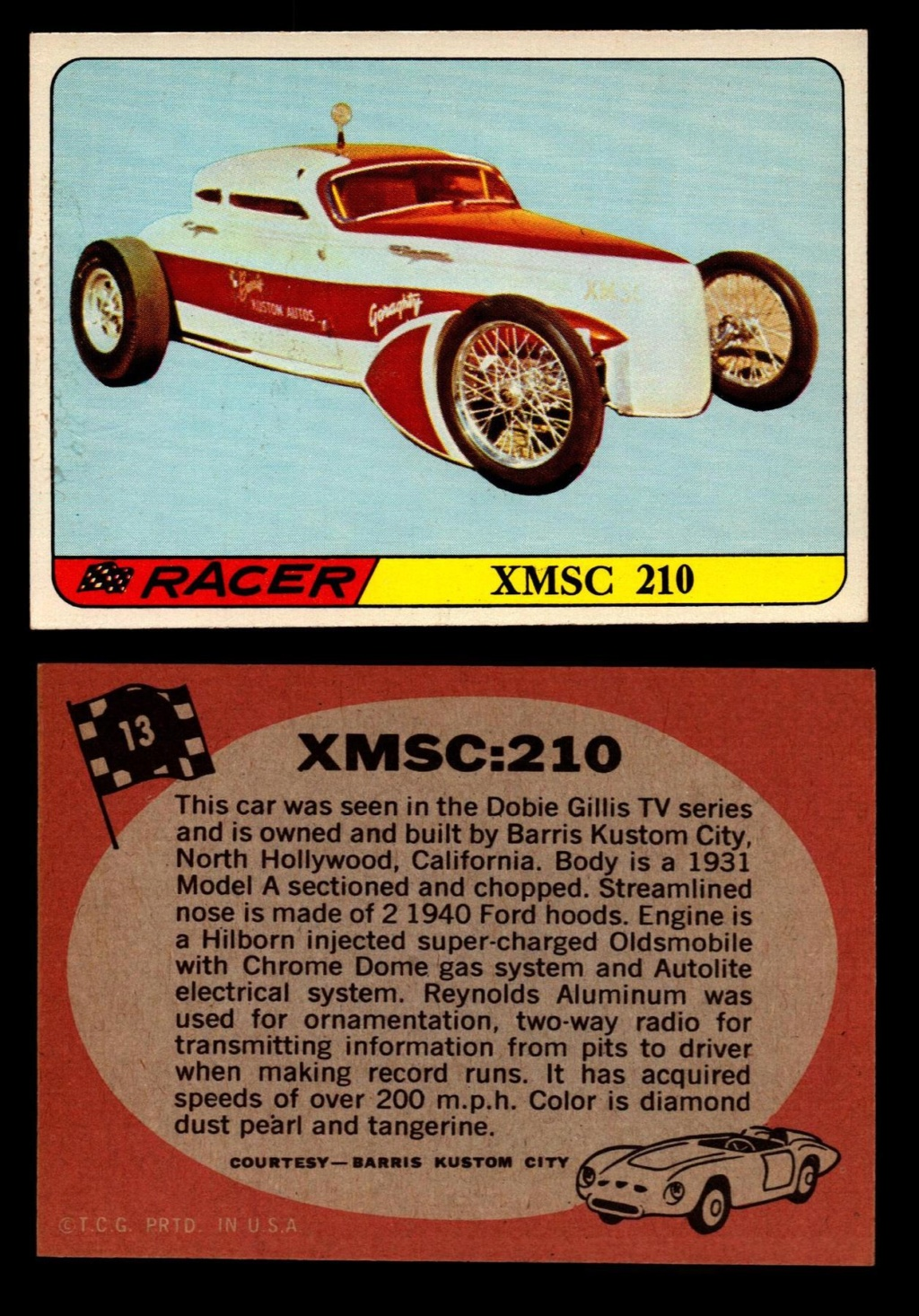Hot Rods Topps - Vintage Trading Cards 1968 - Custom car - Dragster - Racer - Dream car - Barris Kustom City - Ed Roth Darrill Starbird, Gene Winfield, Bill Cuchenberry 13_c2d10