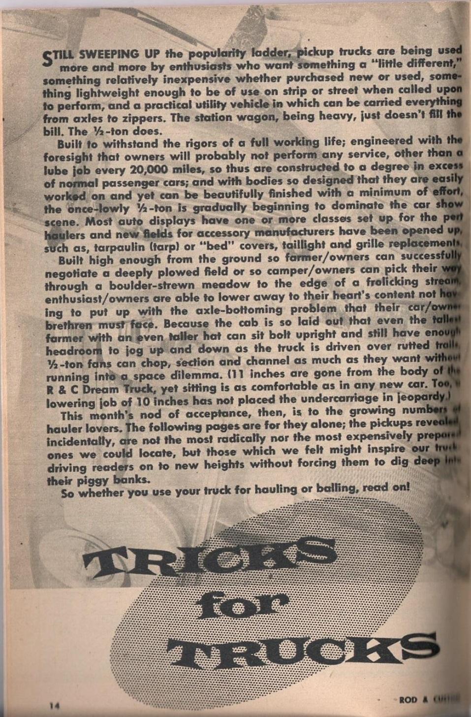 Rod et Custom - January 1959 - Tricks for Trucks - new ideas for pick up 1425