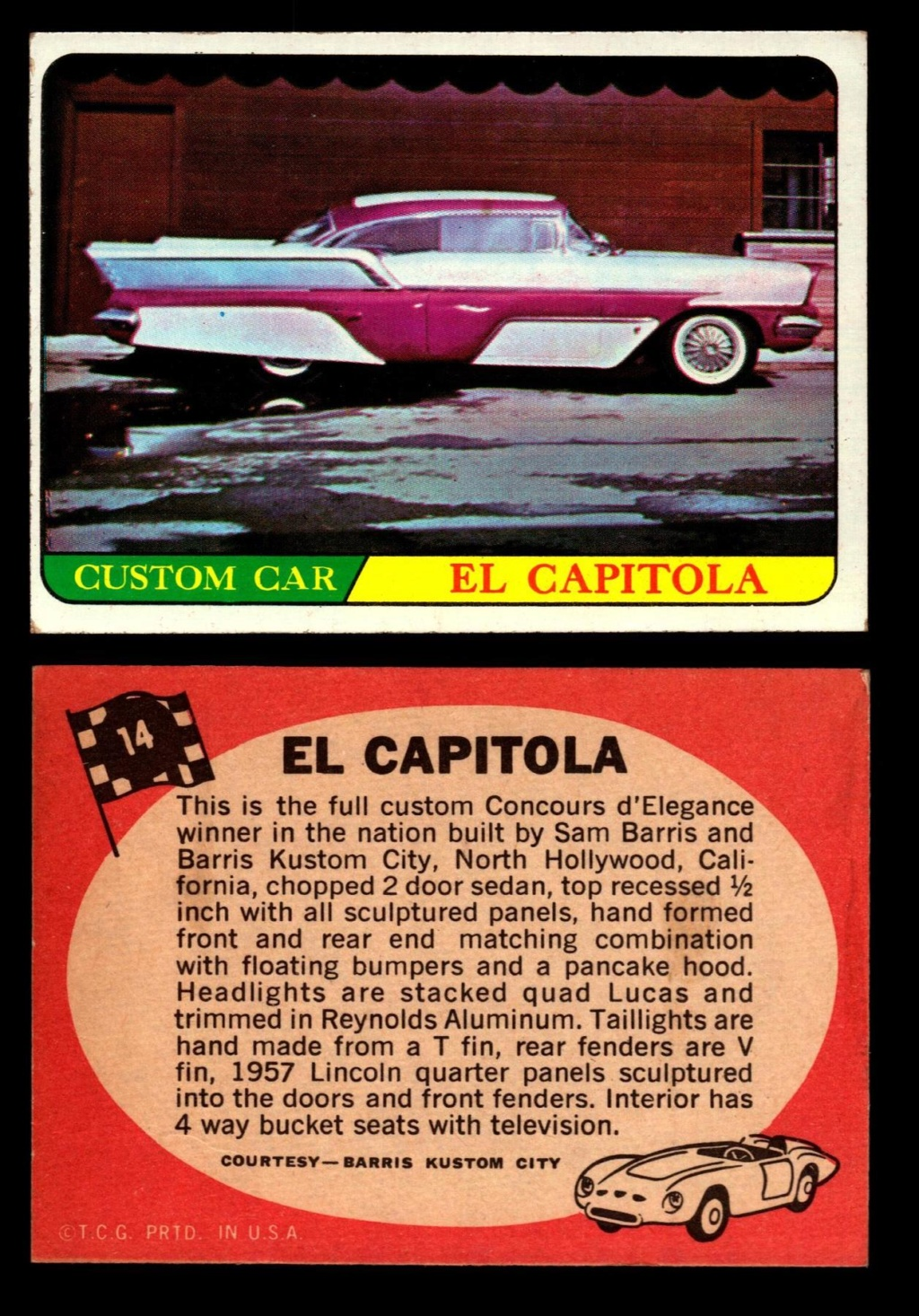 Hot Rods Topps - Vintage Trading Cards 1968 - Custom car - Dragster - Racer - Dream car - Barris Kustom City - Ed Roth Darrill Starbird, Gene Winfield, Bill Cuchenberry 14_80511