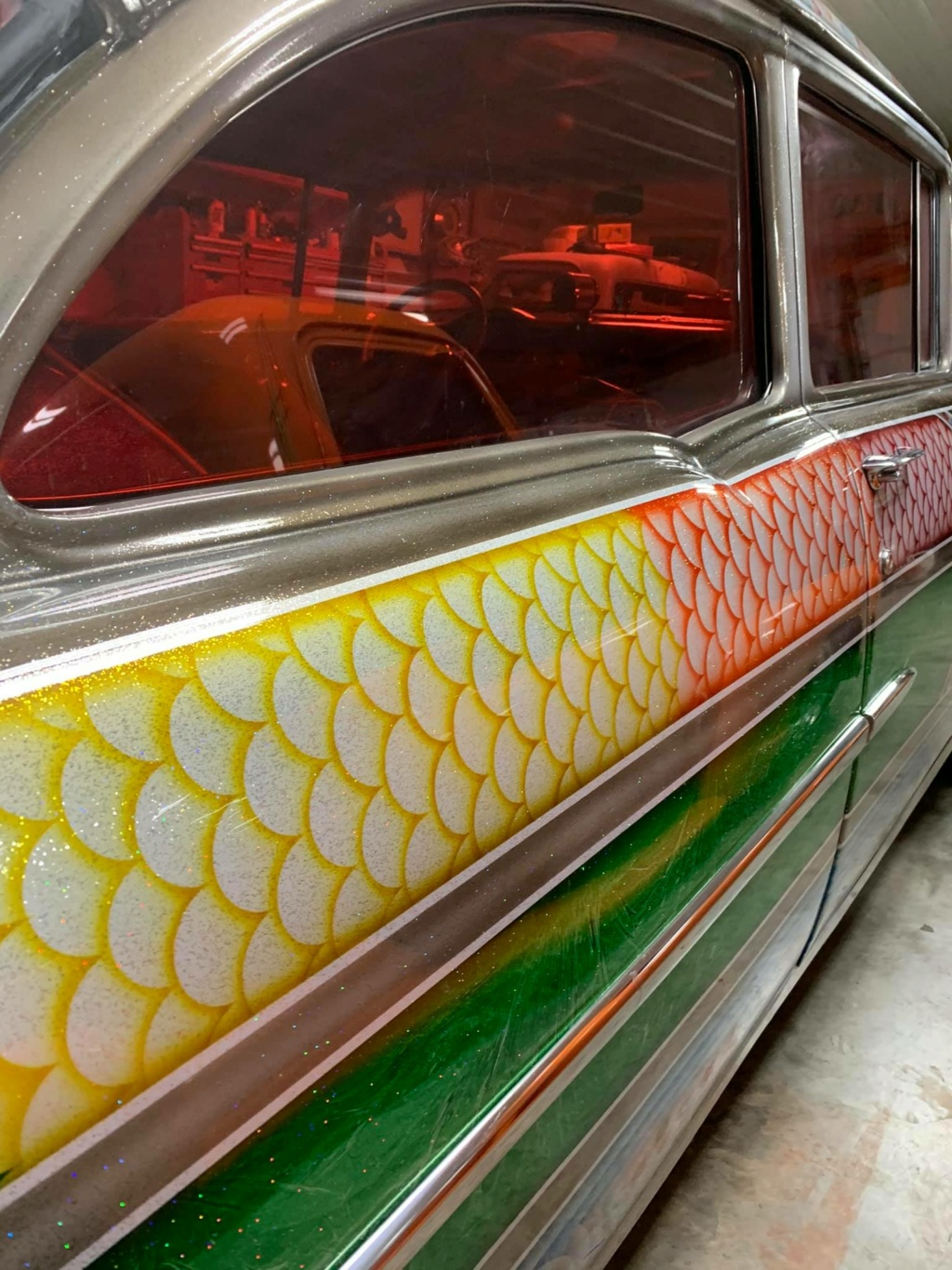 Ronnie N Kristina Jones - 1955 Chevrolet Gasser sixties look with flake, panneling, lace painting 15704010