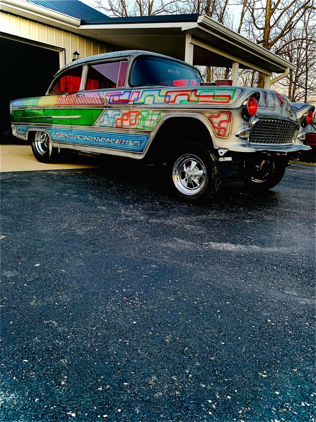 Ronnie N Kristina Jones - 1955 Chevrolet Gasser sixties look with flake, panneling, lace painting 15720510