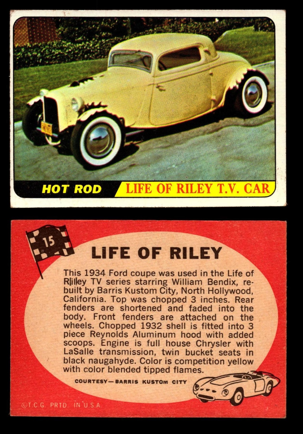 Hot Rods Topps - Vintage Trading Cards 1968 - Custom car - Dragster - Racer - Dream car - Barris Kustom City - Ed Roth Darrill Starbird, Gene Winfield, Bill Cuchenberry 15_77310