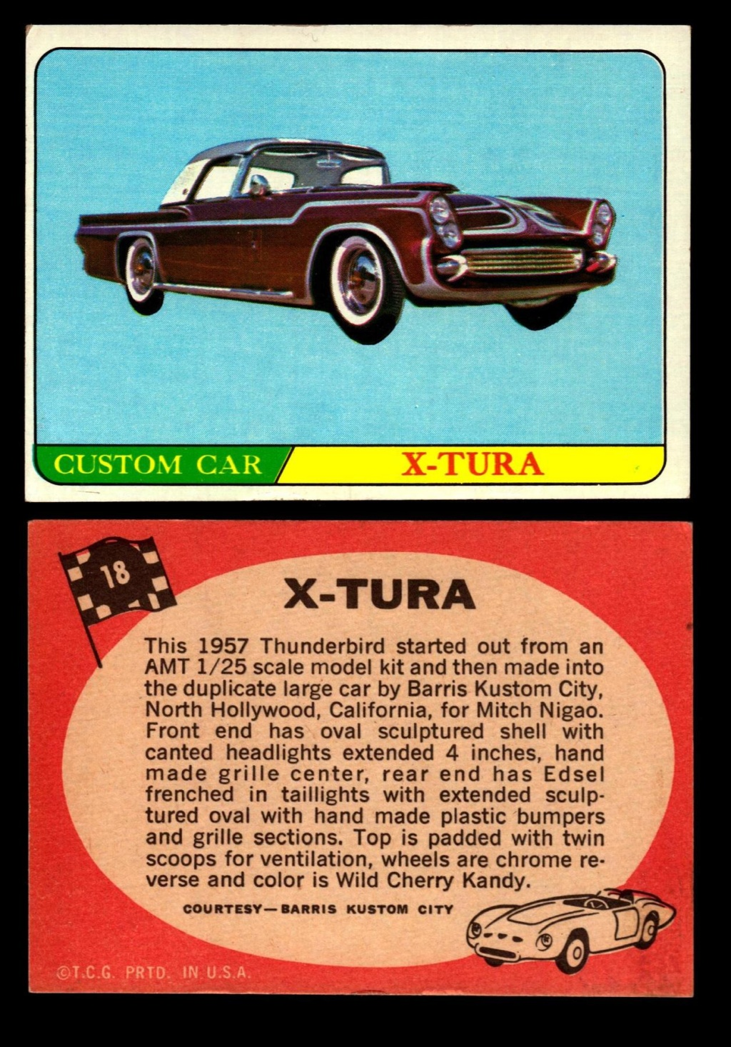 Hot Rods Topps - Vintage Trading Cards 1968 - Custom car - Dragster - Racer - Dream car - Barris Kustom City - Ed Roth Darrill Starbird, Gene Winfield, Bill Cuchenberry 18_f9410