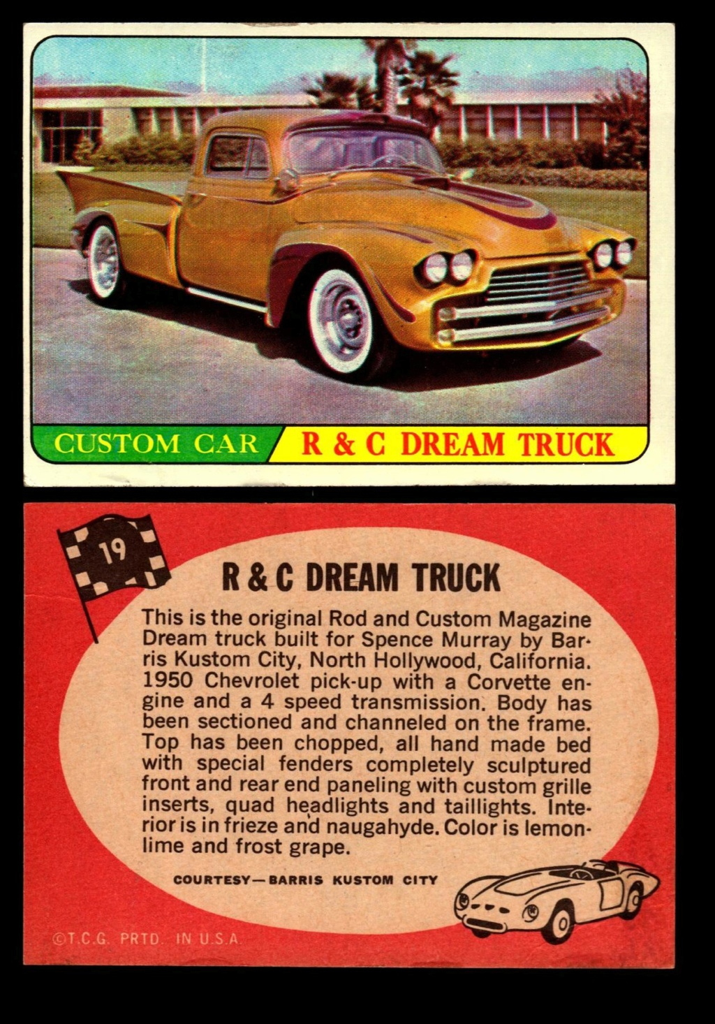 Hot Rods Topps - Vintage Trading Cards 1968 - Custom car - Dragster - Racer - Dream car - Barris Kustom City - Ed Roth Darrill Starbird, Gene Winfield, Bill Cuchenberry 19_a4410