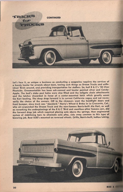 Rod et Custom - January 1959 - Tricks for Trucks - new ideas for pick up 2017