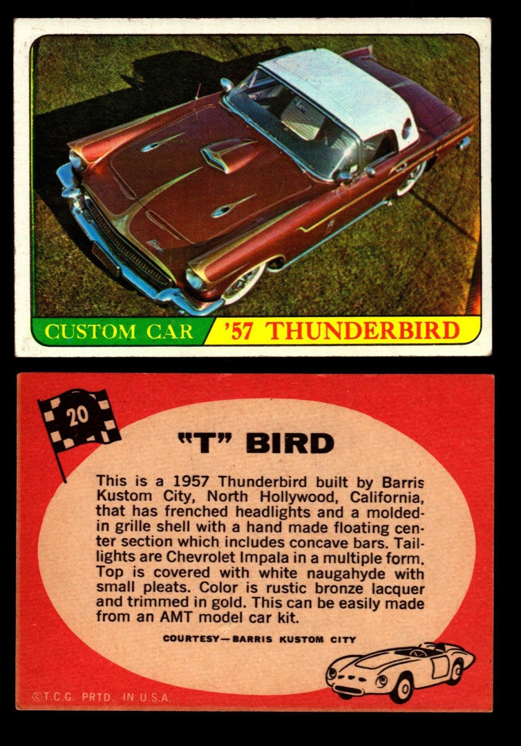 Hot Rods Topps - Vintage Trading Cards 1968 - Custom car - Dragster - Racer - Dream car - Barris Kustom City - Ed Roth Darrill Starbird, Gene Winfield, Bill Cuchenberry 20_18710