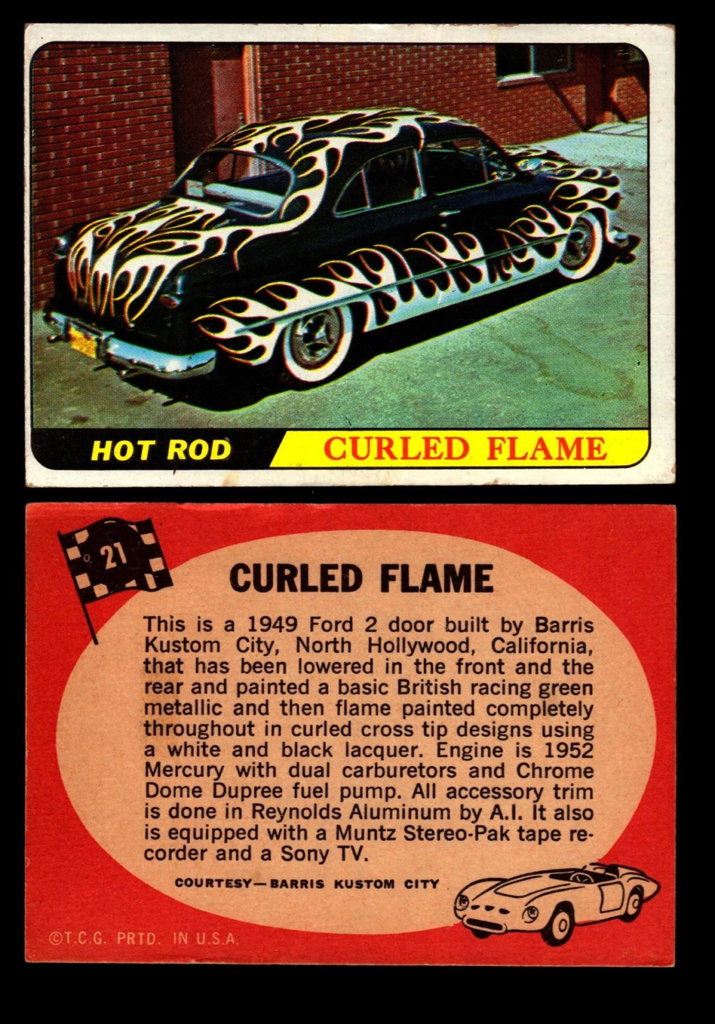 Hot Rods Topps - Vintage Trading Cards 1968 - Custom car - Dragster - Racer - Dream car - Barris Kustom City - Ed Roth Darrill Starbird, Gene Winfield, Bill Cuchenberry 21_49610