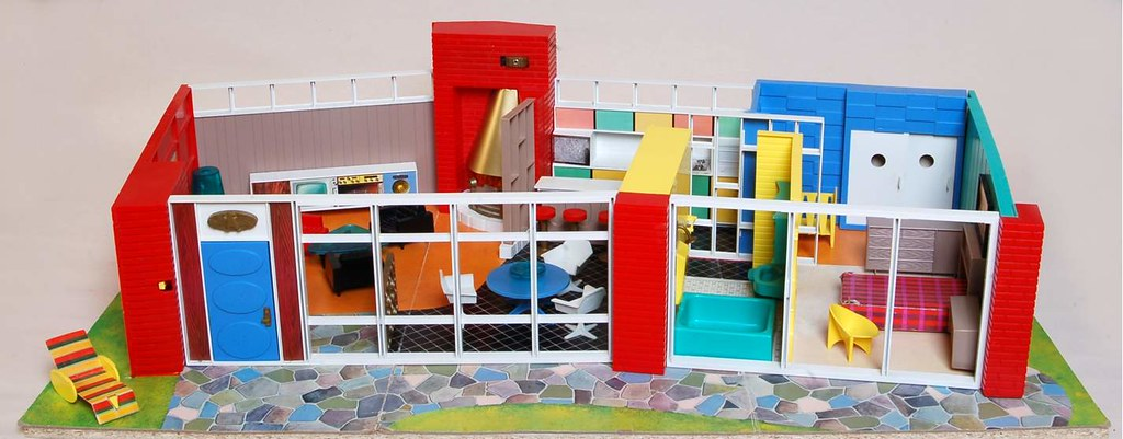 Debbie's Dream House - plastic mid-century mod showplace from Marx Toys - 1963 23495811