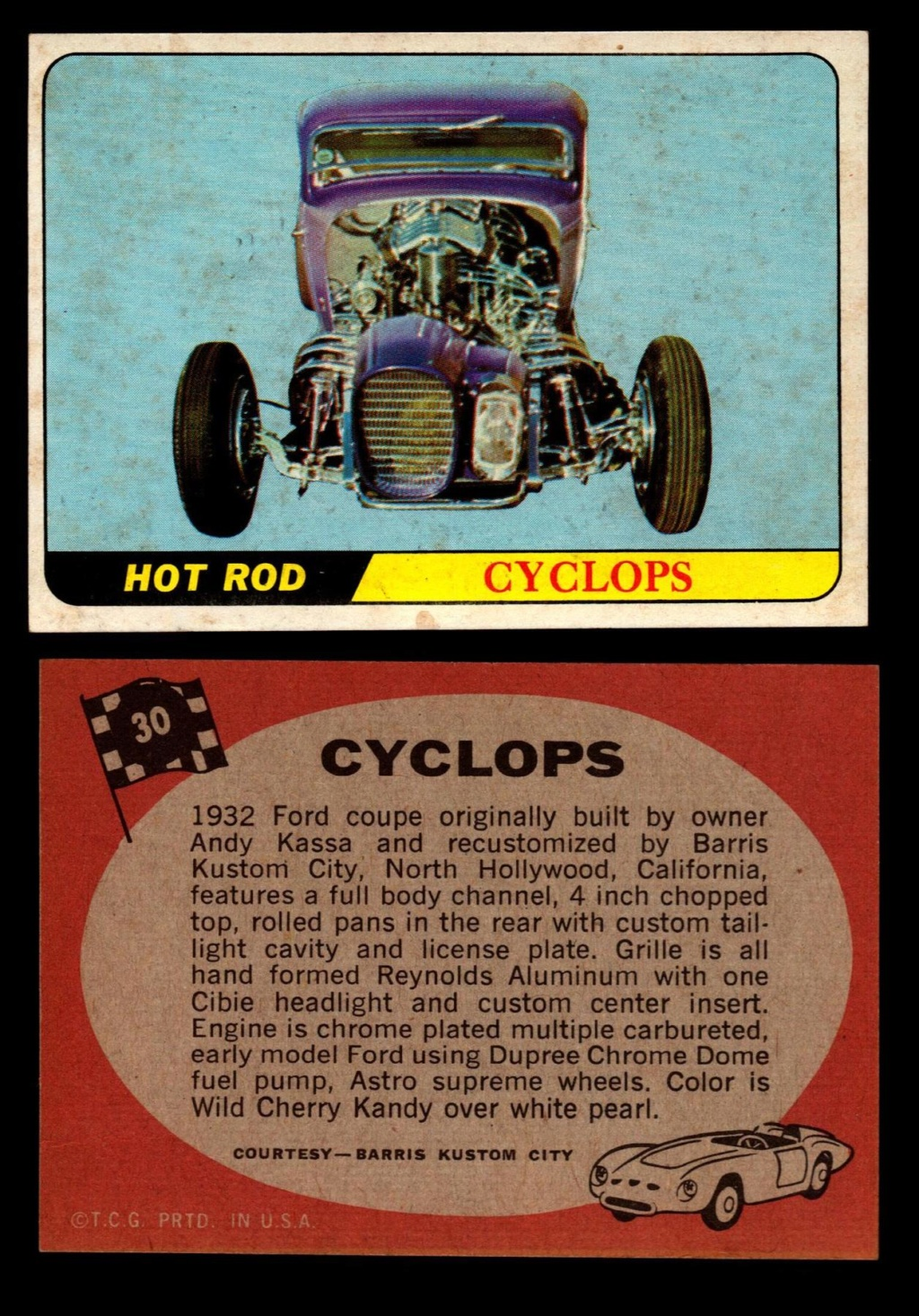 Hot Rods Topps - Vintage Trading Cards 1968 - Custom car - Dragster - Racer - Dream car - Barris Kustom City - Ed Roth Darrill Starbird, Gene Winfield, Bill Cuchenberry - Page 2 30_03410