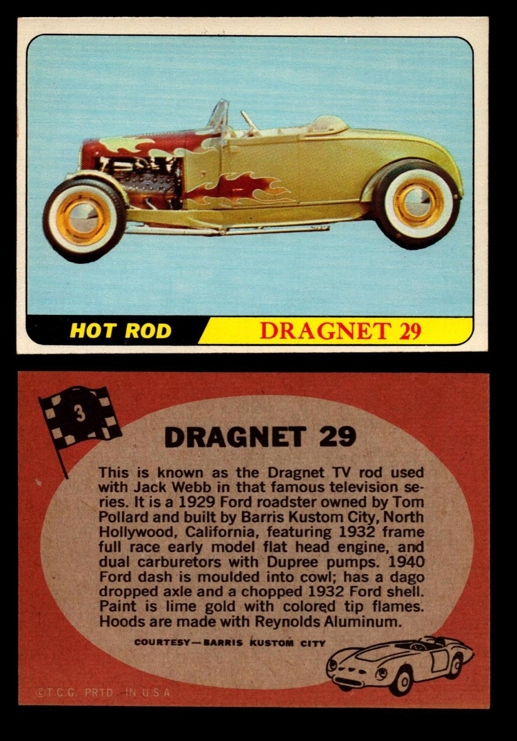 Hot Rods Topps - Vintage Trading Cards 1968 - Custom car - Dragster - Racer - Dream car - Barris Kustom City - Ed Roth Darrill Starbird, Gene Winfield, Bill Cuchenberry 3_7c6810