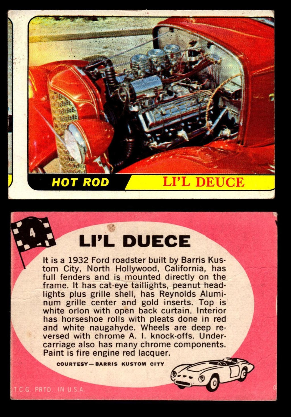Hot Rods Topps - Vintage Trading Cards 1968 - Custom car - Dragster - Racer - Dream car - Barris Kustom City - Ed Roth Darrill Starbird, Gene Winfield, Bill Cuchenberry 4_f3a310