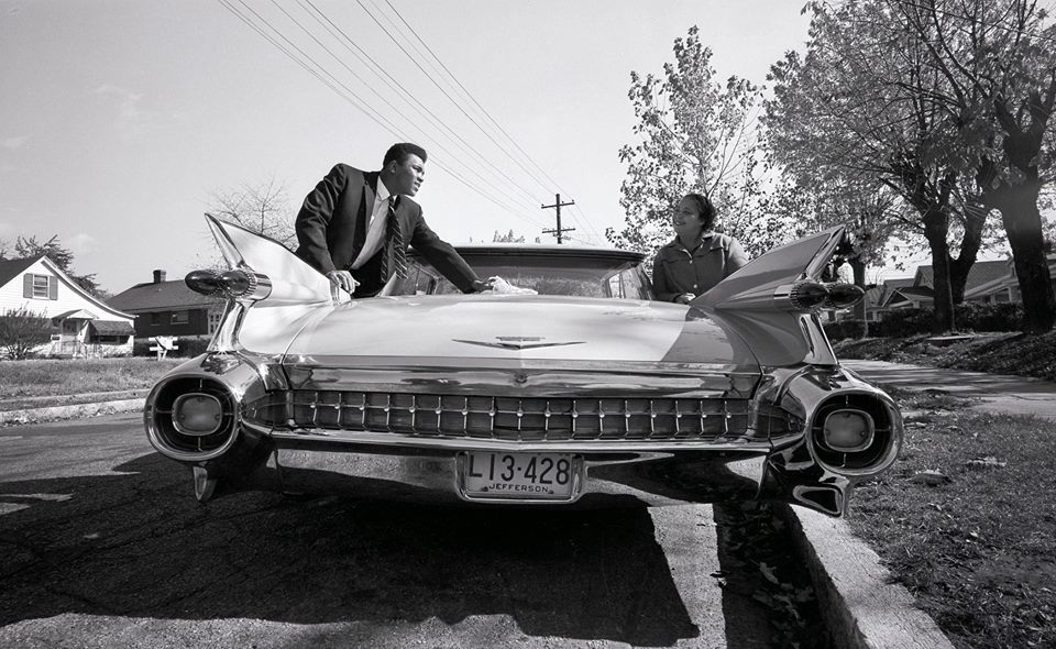 "Nov 1, 1960; Louisville, KY, USA - Mohamed Ali ""Cassius Clay"" & Cadillac 1959 "" A pink Cadillac for mom "" 55752310"
