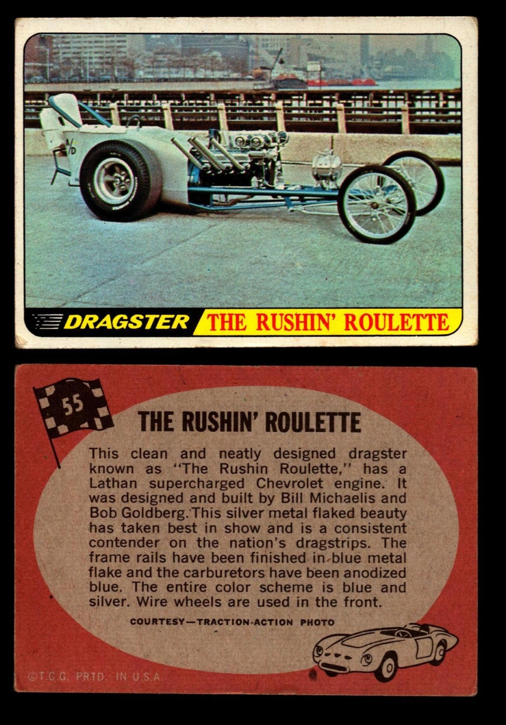 Hot Rods Topps - Vintage Trading Cards 1968 - Custom car - Dragster - Racer - Dream car - Barris Kustom City - Ed Roth Darrill Starbird, Gene Winfield, Bill Cuchenberry - Page 2 55_31d10