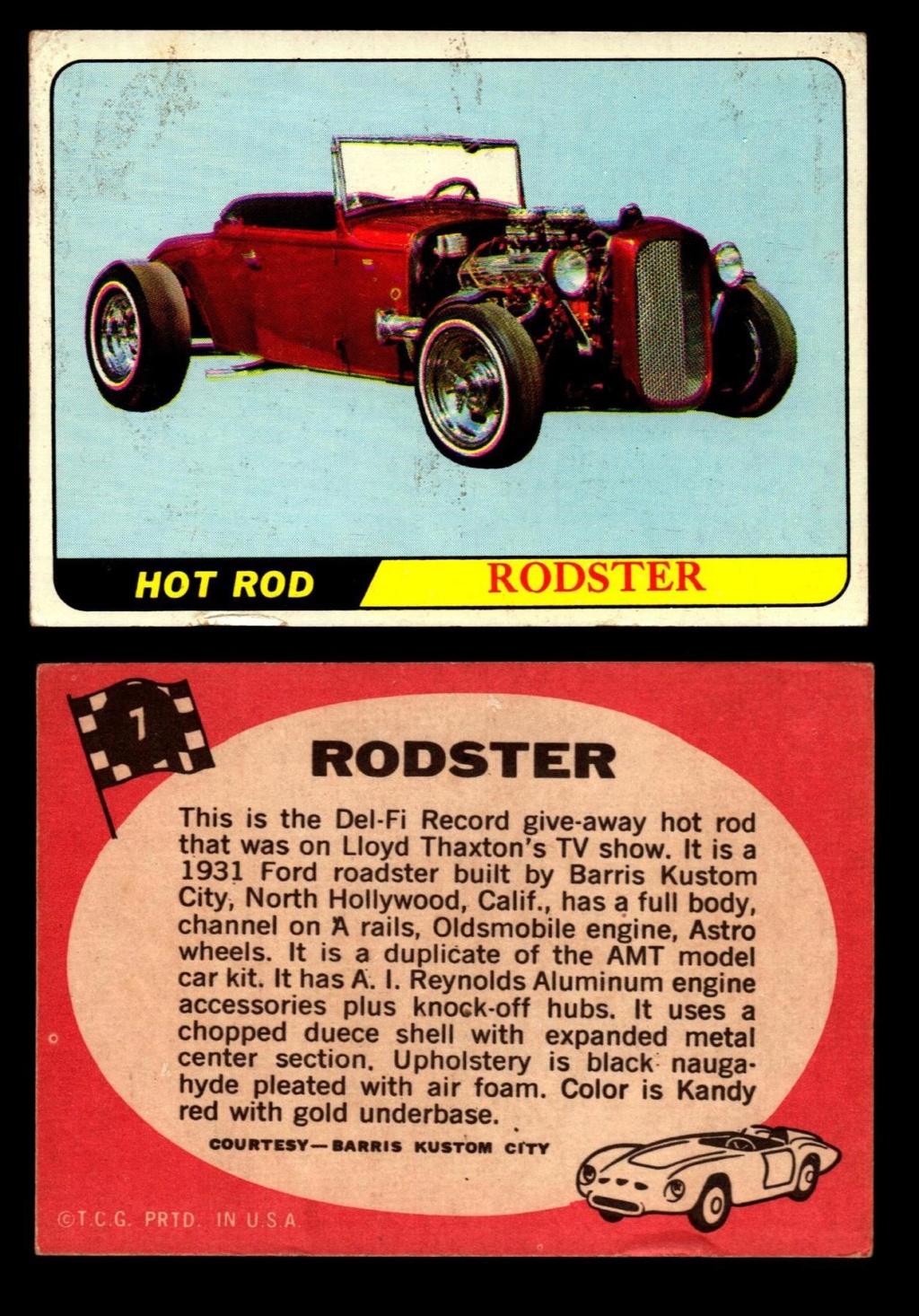 Hot Rods Topps - Vintage Trading Cards 1968 - Custom car - Dragster - Racer - Dream car - Barris Kustom City - Ed Roth Darrill Starbird, Gene Winfield, Bill Cuchenberry 7_e71110