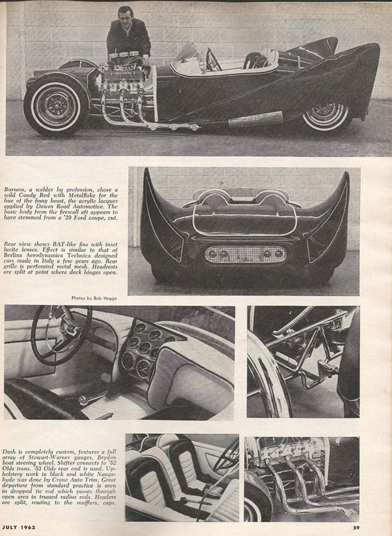 John Burnes, The Manta Ray - 32 Ford radical show rod Bat - Toronto, Ont. Car Craft, Jul 1963 8bat10