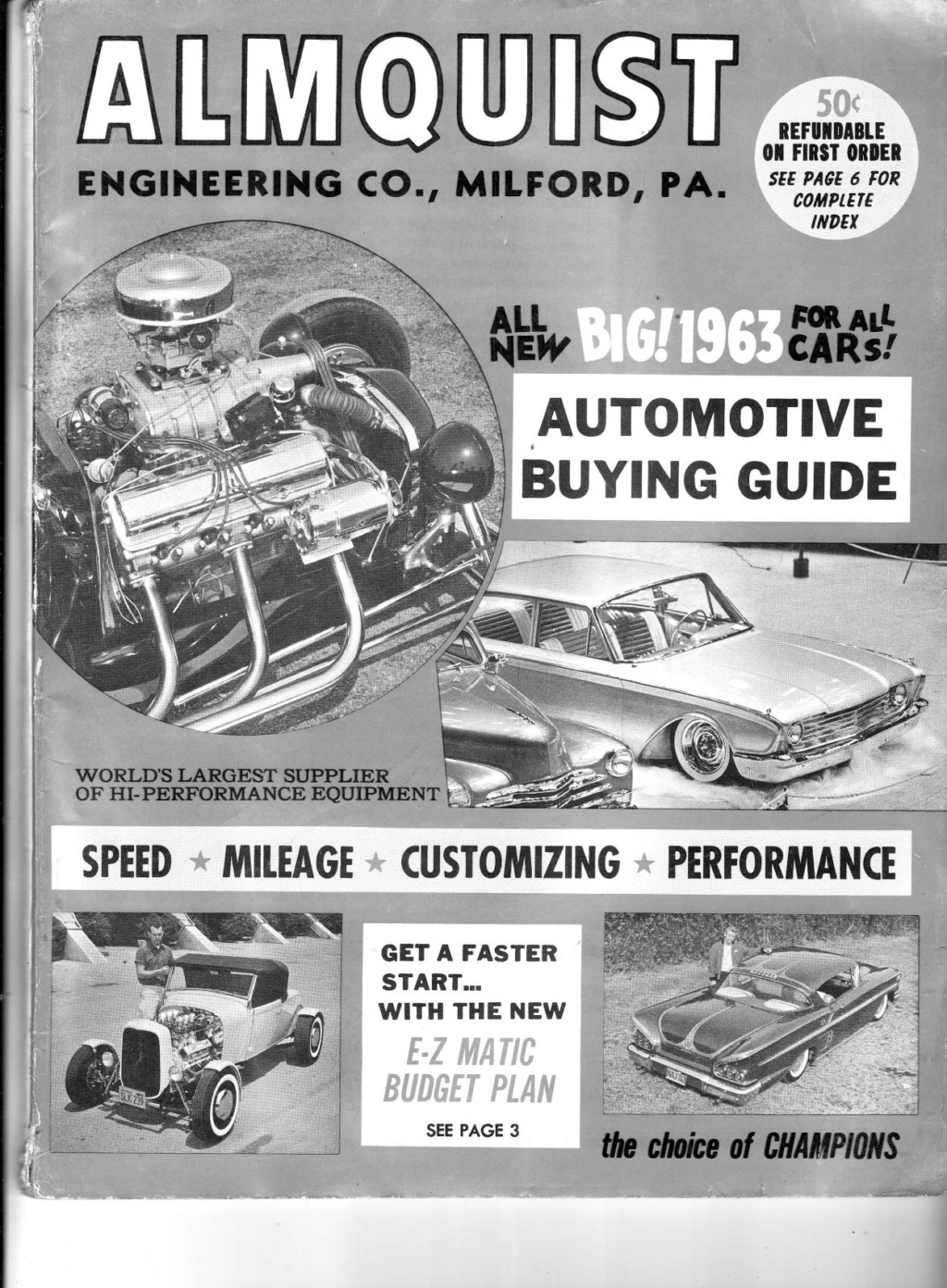 Almquist catalog, Speed, Mileage, Customizing, Performance - World's largest supplier of hi-performance equipement -  1963 Img_0010