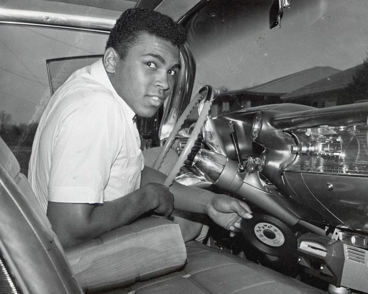 "Nov 1, 1960; Louisville, KY, USA - Mohamed Ali ""Cassius Clay"" & Cadillac 1959 "" A pink Cadillac for mom "" Muhamm10"